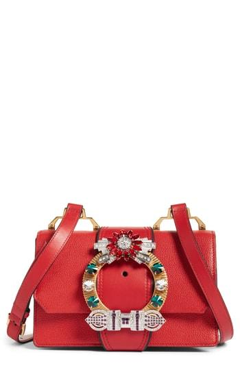 a8a086f2b8f Miu Miu Madras Crystal Embellished Leather Shoulder Bag - Pink In Rosa