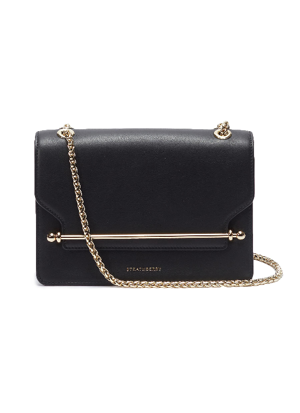 Strathberry 'east/west' Leather Crossbody Bag In Black