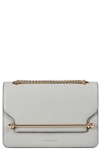Strathberry East/west Leather Crossbody Bag In Grey