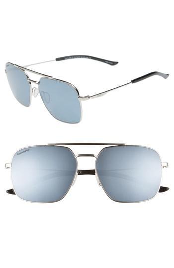 7cd1f0b55a Smith Double Down 58Mm Chromapop(Tm) Polarized Navigator Sunglasses - Silver   Platinum