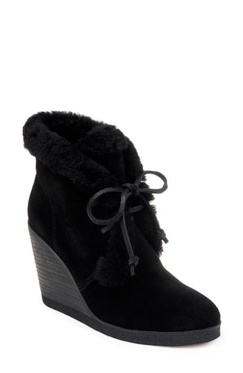 0a20796b0d37 Splendid Women s Catalina Suede   Shearling Lace Up Wedge Booties In Black  Suede
