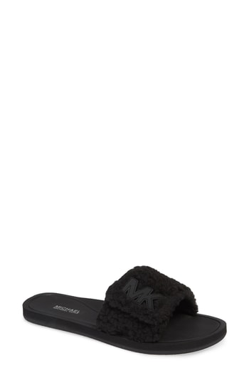 f6a2837f44a5 Michael Michael Kors Mk Fuzzy Pool Slide Sandals In Black Faux Fur ...