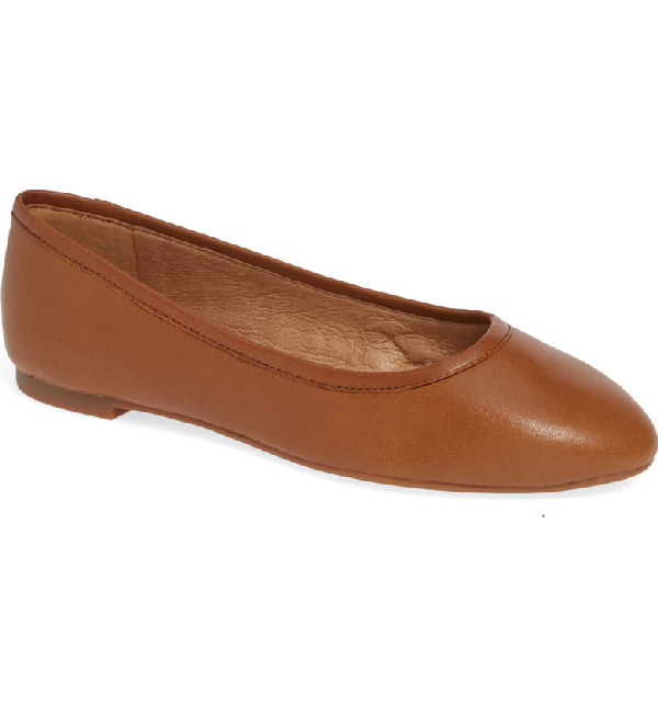 Madewell Reid Ballet Flat In English Saddle Leather