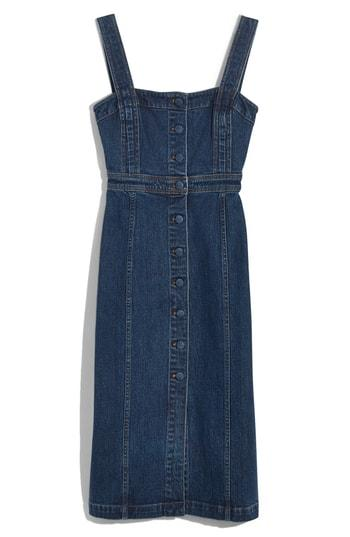 e35639ad60f Madewell Denim Covered Button Dress In Goswell Wash