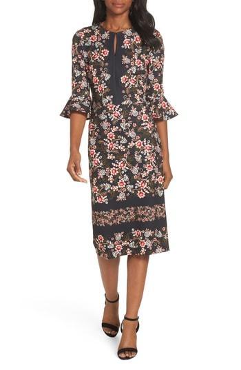 ce62038d1ee Maggy London 3 4 Flounce-Sleeve Floral-Print Scuba Crepe Sheath Dress In