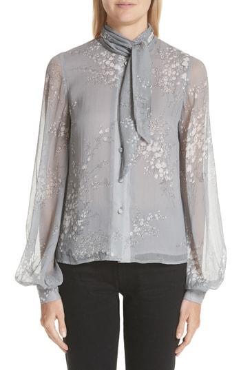 d9a6a307059 Floral Print Tie Neck Crinkle Chiffon Blouse in Grey
