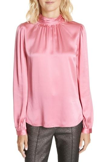 c0c0068abc306f Veronica Beard Chilton Bow Back Silk Blouse In Pink