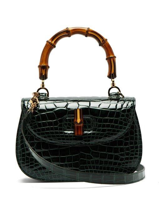 Gucci Bamboo-Handle Crocodile-Leather Bag In Green