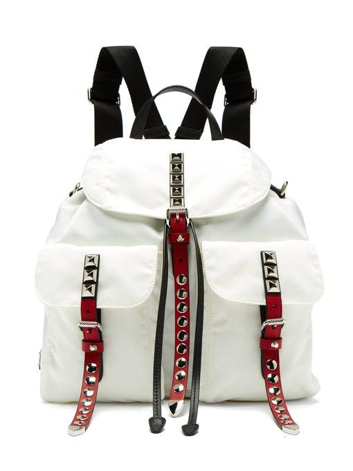 ec20578b5b899 Prada - New Vela Studded Nylon And Leather Backpack - Womens - White ...