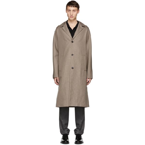 Joseph Albert Oversized Houndstooth Cotton-twill Coat In 0060 Beige
