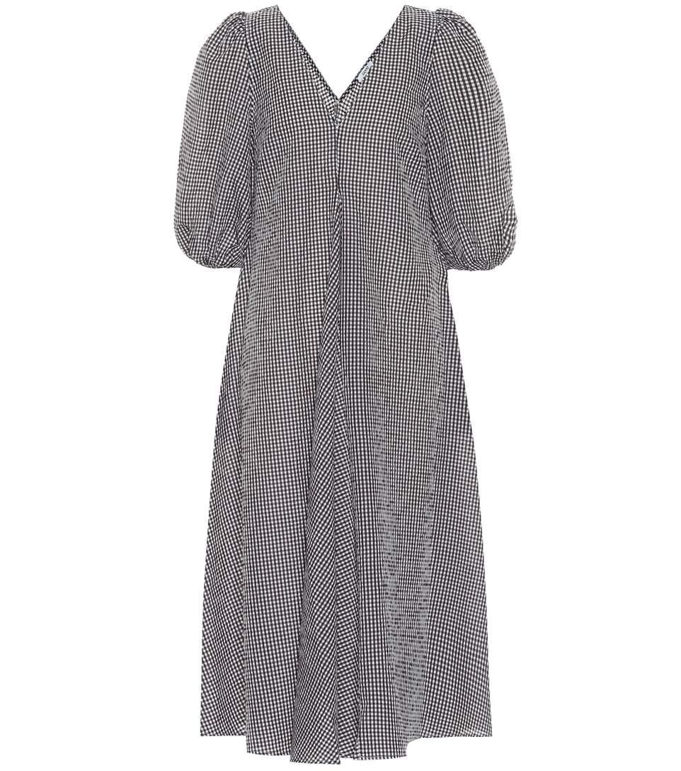 Ganni Charron Cotton-blend Midi Dress In Brown