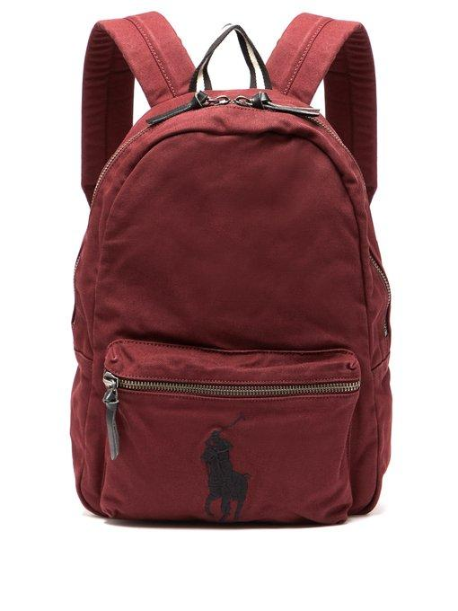 0f5c475750 Polo Ralph Lauren - Logo Embroidered Canvas Backpack - Mens - Red ...