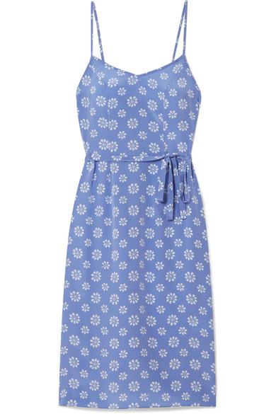 85fa387a1cf4 Hvn Lily Floral-Print Silk Crepe De Chine Slip Dress In Blue | ModeSens