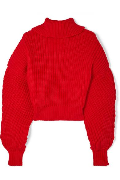 f6cb7ce48bc1 A.W.A.K.E. Cropped Oversized Wool Turtleneck Sweater In Red
