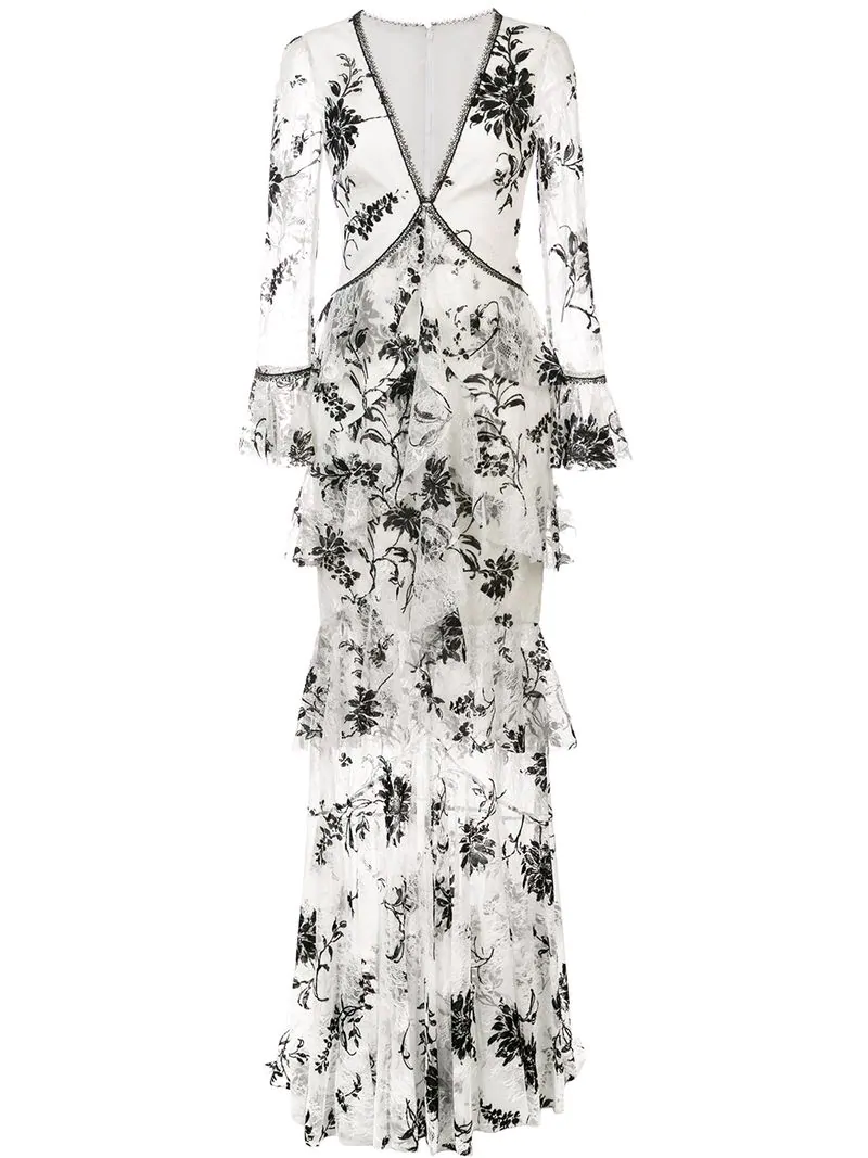 590f13b2c9a Marchesa Notte Embroidered Floral Lace Dress - White | ModeSens