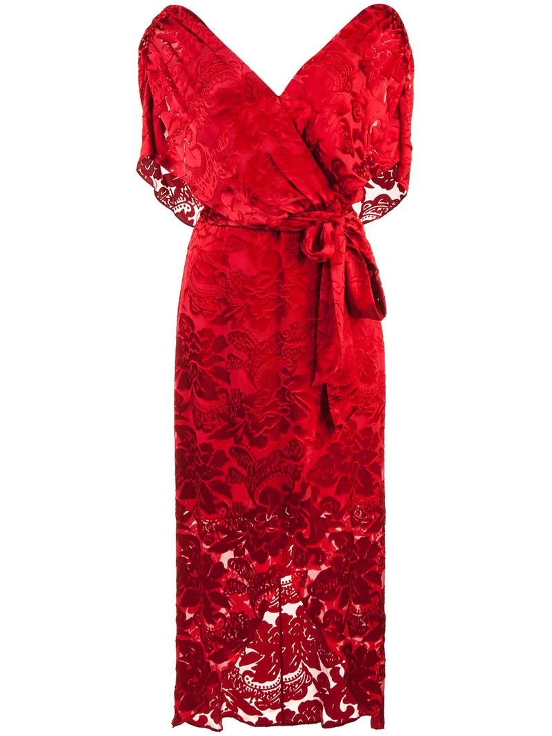 Alice And Olivia Darva Burnout Chiffon Wrap Dress In Red