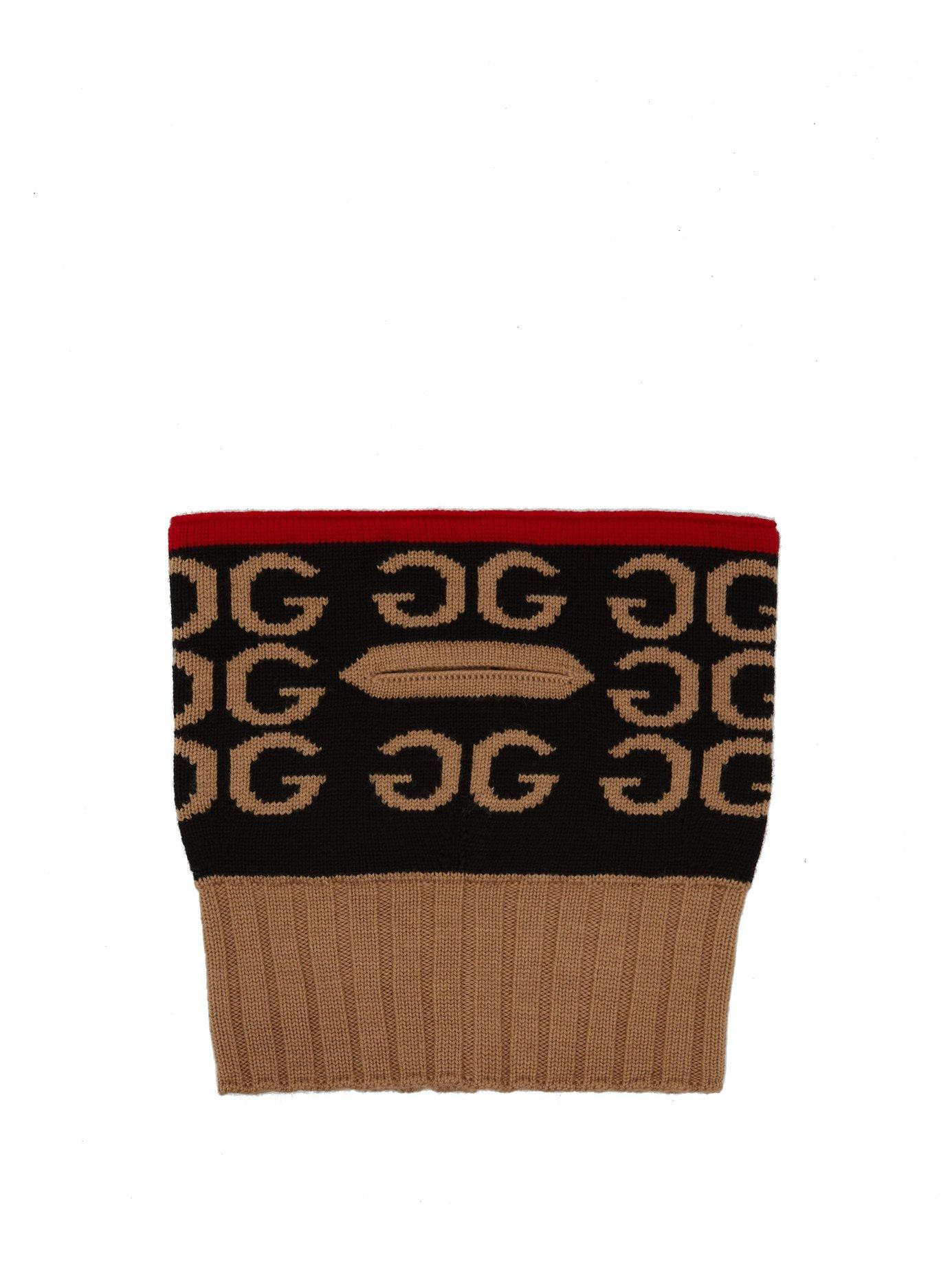 0c5ae91a5b719 Gucci Black And Camel Logo Intarsia Wool Neck Scarf In 6560 Red ...