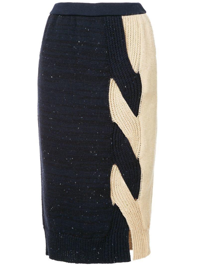 0204b0920d Coohem Contrast Knitted Pencil Skirt - Blue | ModeSens