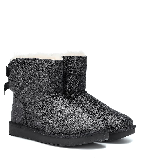 Ugg Mini Bailey Bow Glitter Ankle Boots In Black
