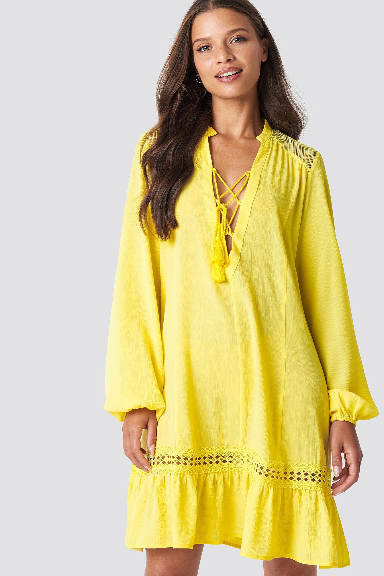 06e917efa2295 Balloon Sleeve Mini Dress - Yellow