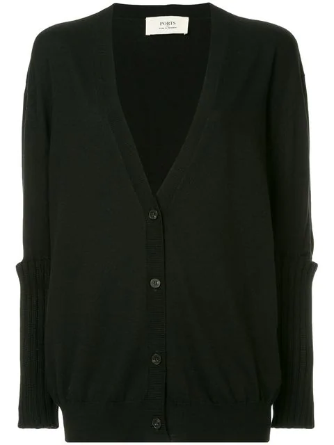 21cc097894c1 Ports 1961 Slit Elbow Knitted Cardigan - Black
