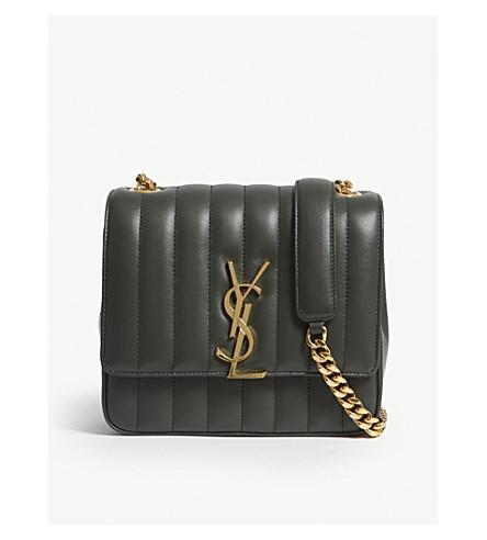 615dc7e50e1e4 Saint Laurent Green Monogram Vicky Medium Leather Cross-Body Bag ...