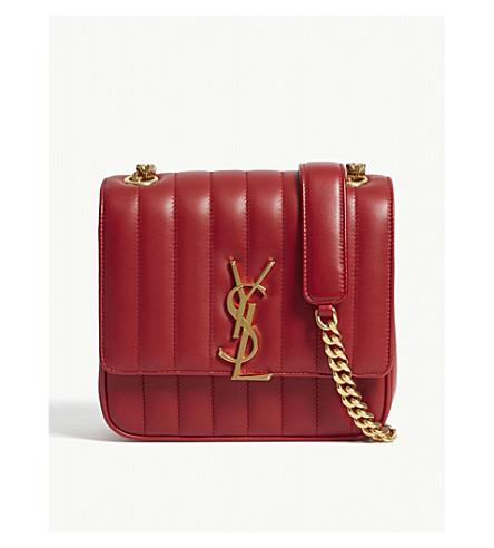 2a18673ad17 Saint Laurent Monogram Vicky Medium Leather Cross-Body Bag In Red ...