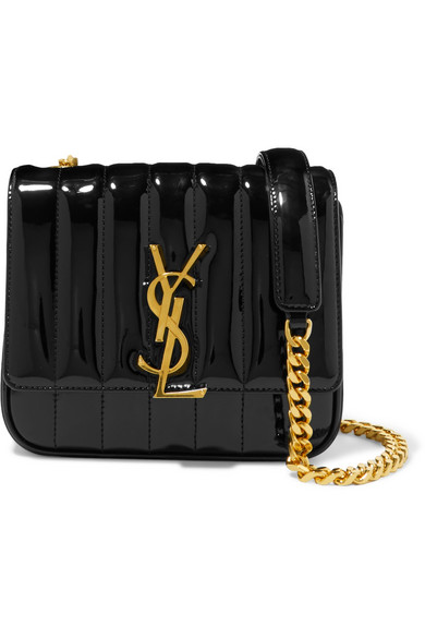 211ca083dd Saint Laurent Vicky Monogram Ysl Small Quilted Patent Leather Crossbody Bag  In Black