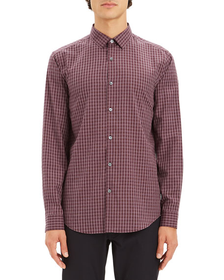 Theory Murrary Regular Fit Gingham Flannel Sport Shirt In Malbec