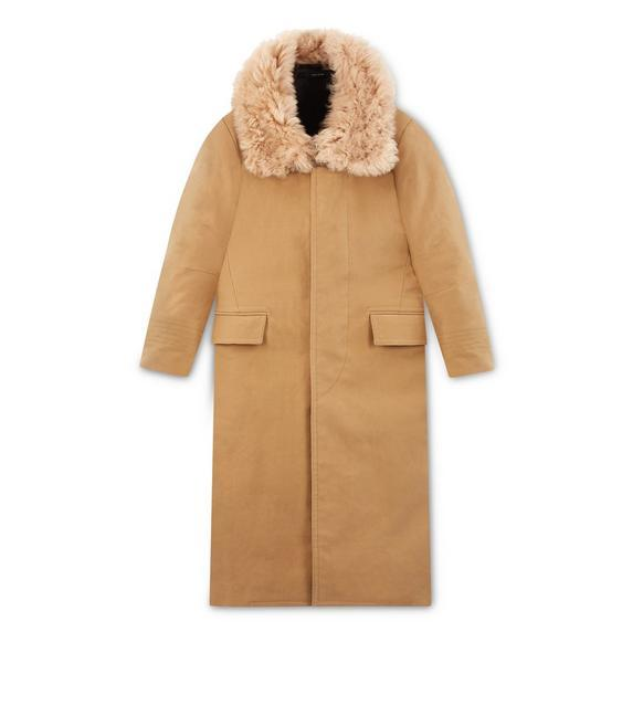 quality and quantity assured shop for authentic new & pre-owned designer Felt Coat With Shearling Collar in Camel