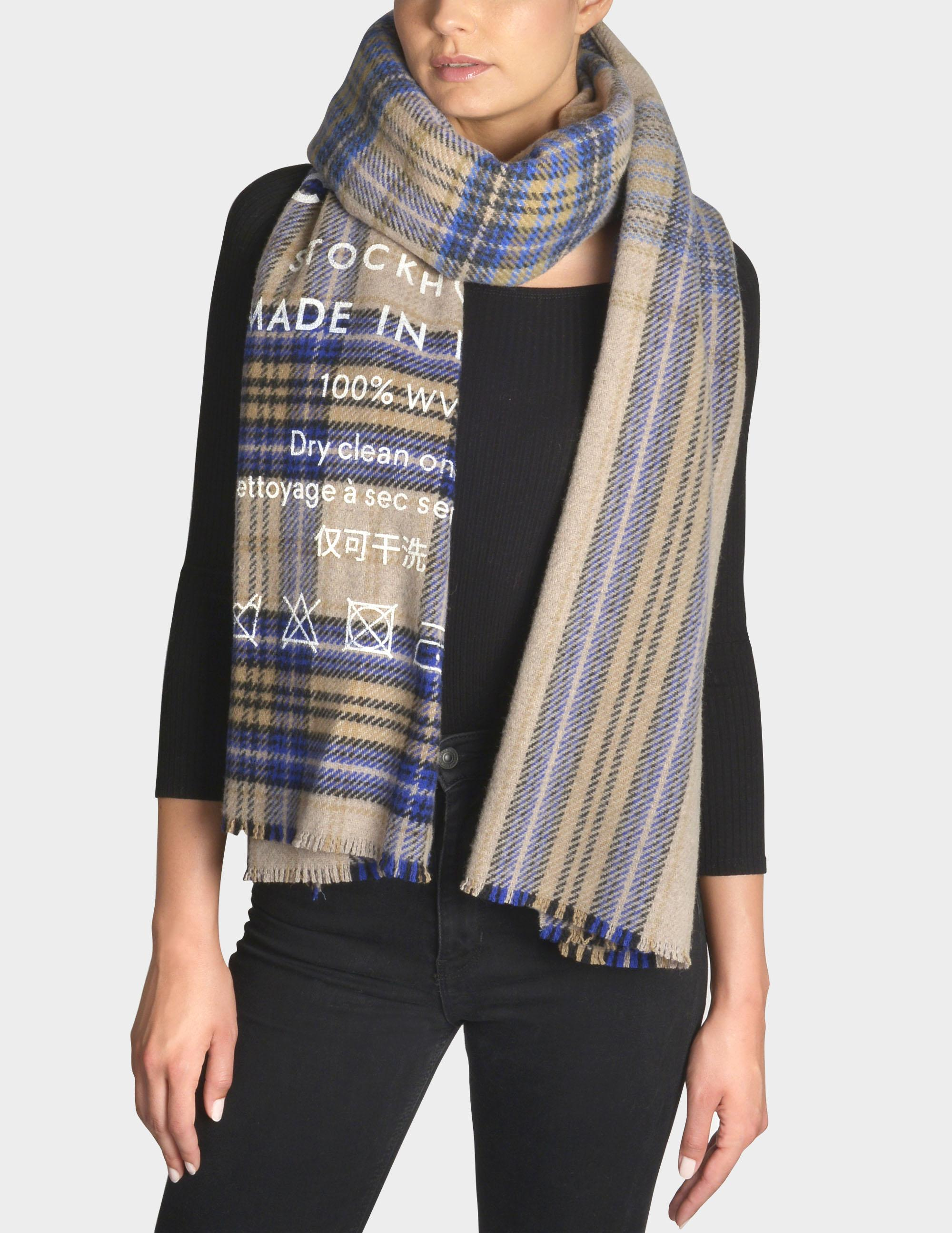83b169255a4 Acne Studios Cassiar Check Scarf In Blue And Beige Squares Wool ...