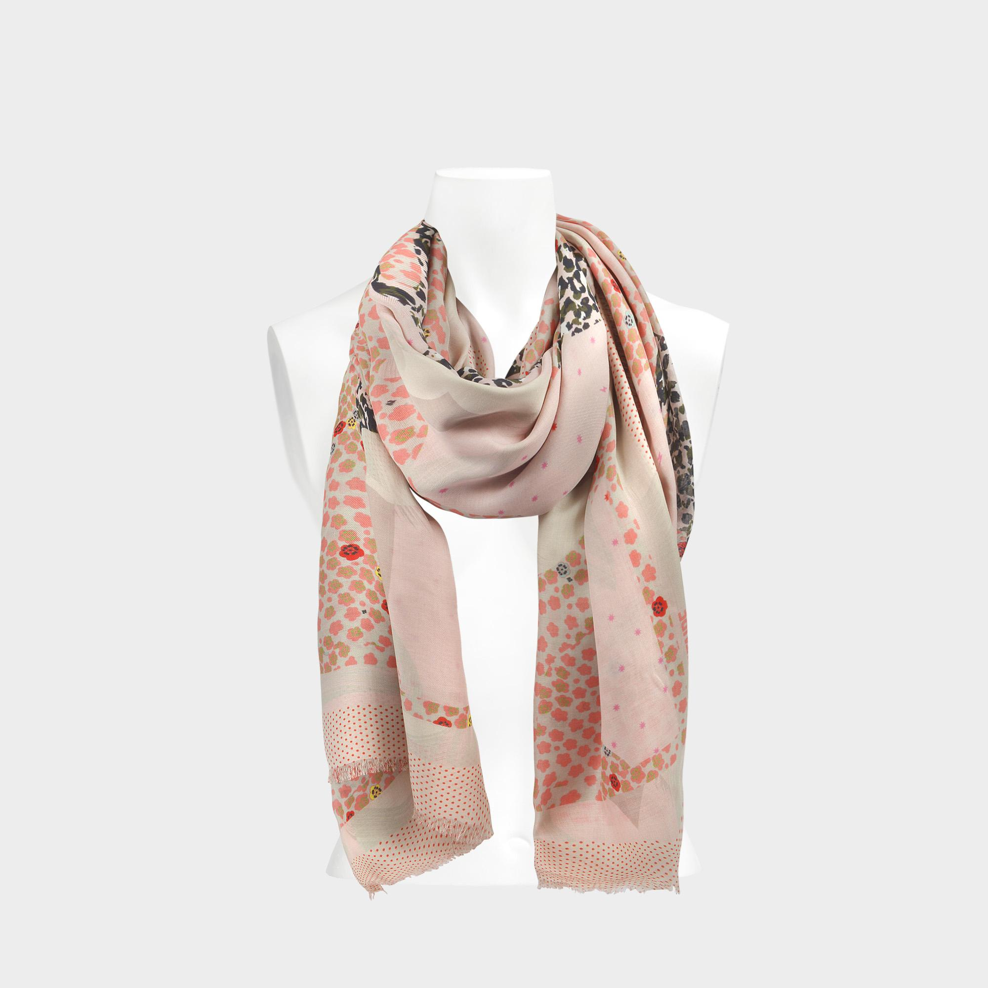 Zadig & Voltaire Maxi Patchwork Scarf In Bebe Modal