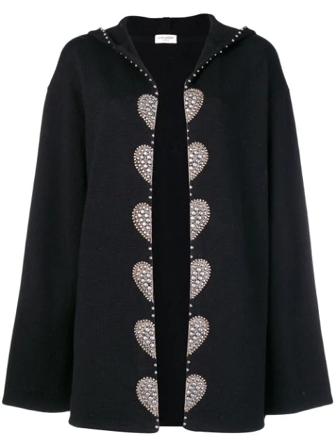 Saint Laurent Embellished Cardi Coat In Black