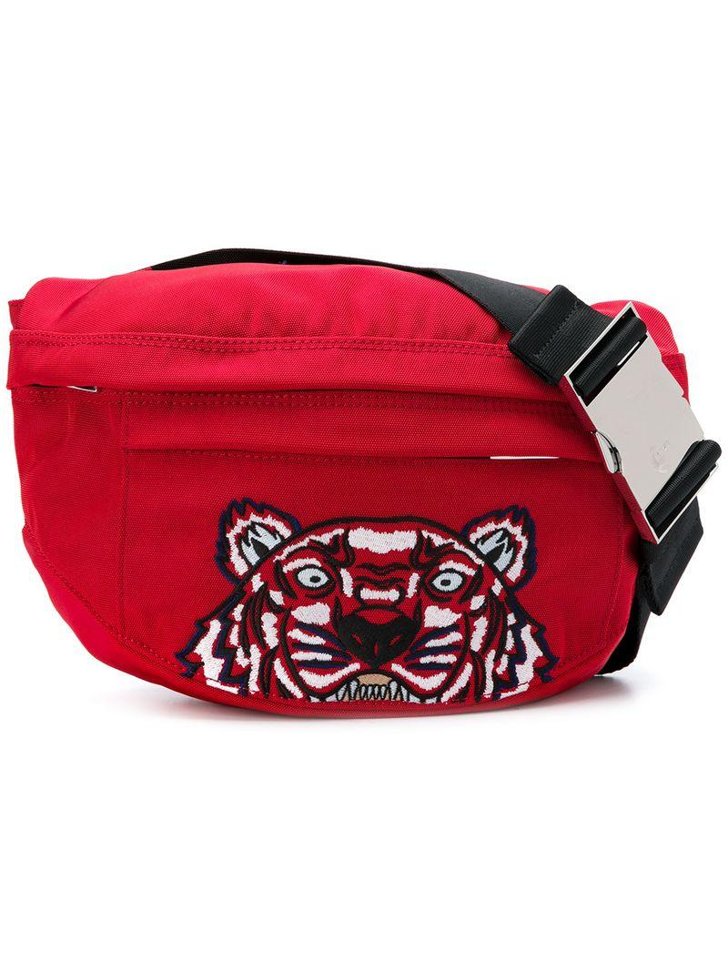 c0e8fe25f949e2 Kenzo Tiger Embroidered Waist Bag In Red | ModeSens