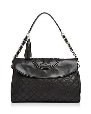 6f302c47708 Tory Burch Fleming Leather Foldover Hobo - Black