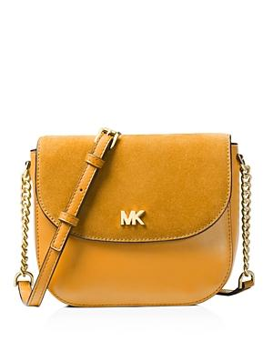 d050bac89539 Michael Michael Kors Half Dome Medium Leather   Suede Crossbody In Marigold  Yellow Gold