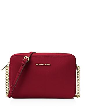 bcac7da01ef2 Michael Michael Kors Jet Set Large Saffiano Leather Crossbody In Red ...