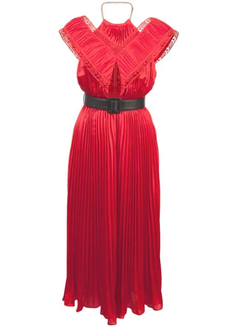 Self-portrait Off Shoulder Pleated Dress In Red