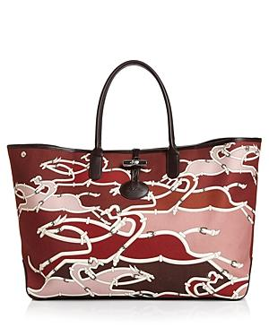 282440c5e82 Longchamp Roseau Galop Extra Large Canvas Shoulder Tote In Burgundy/Silver