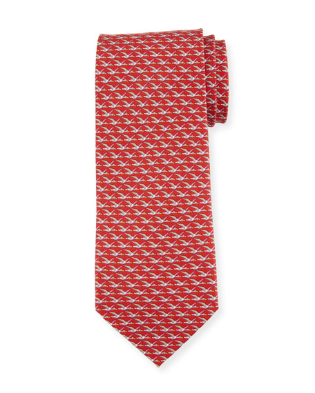 Salvatore Ferragamo Faggio Leaf Printed Silk Tie, Red In Red/blue