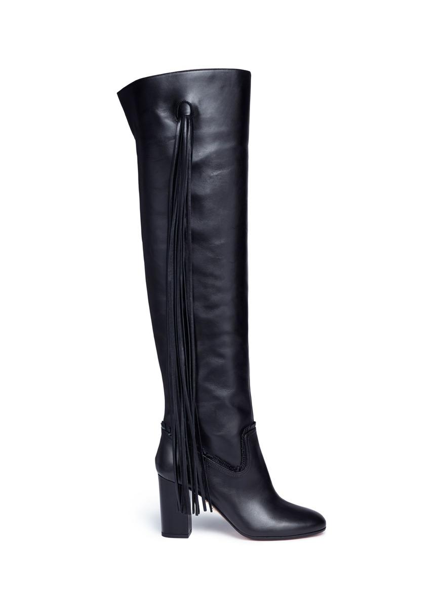 Aquazzura 'Whip It' Fringe Thigh High Leather Boots