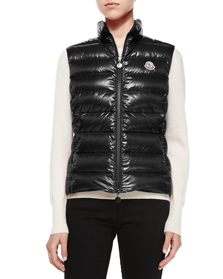 b53eb031e Ghany Shiny Quilted Puffer Vest in Black