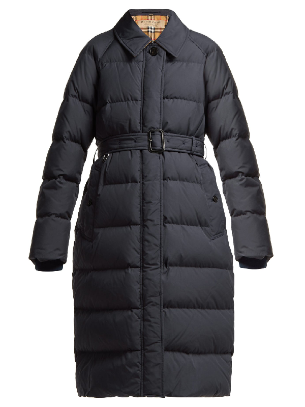 Burberry Bridgnorth Vintage Check-lined Quilted Coat In Navy