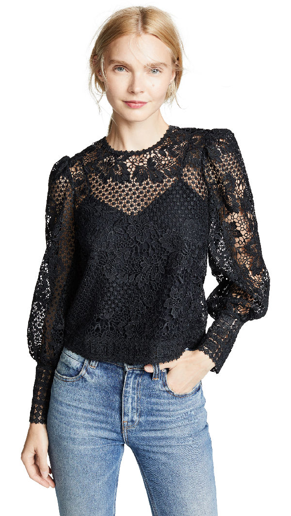Joie Rodia Cropped Floral Lace Long-sleeve Top In Caviar