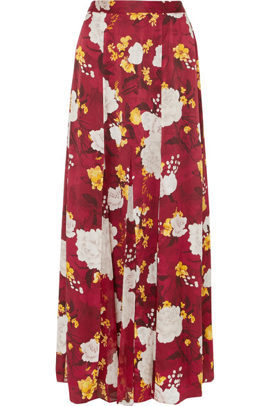 829622e0ee430 Alice And Olivia Athena Floral-Print Hammered Silk-Satin Maxi Skirt In  Burgundy