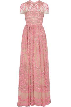 Valentino Woman Bead-Embellished Embroidered Tulle Gown Pink
