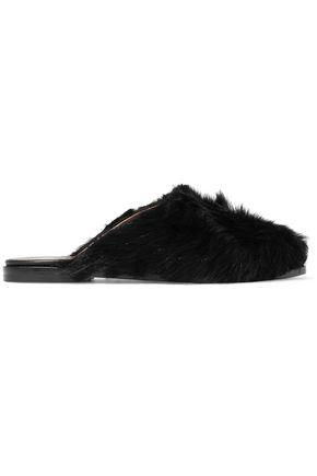 Atp Atelier Shearling Slippers In Black