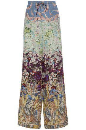 Valentino Woman Floral-Print Silk Crepe De Chine Wide-Leg Pants Multicolor