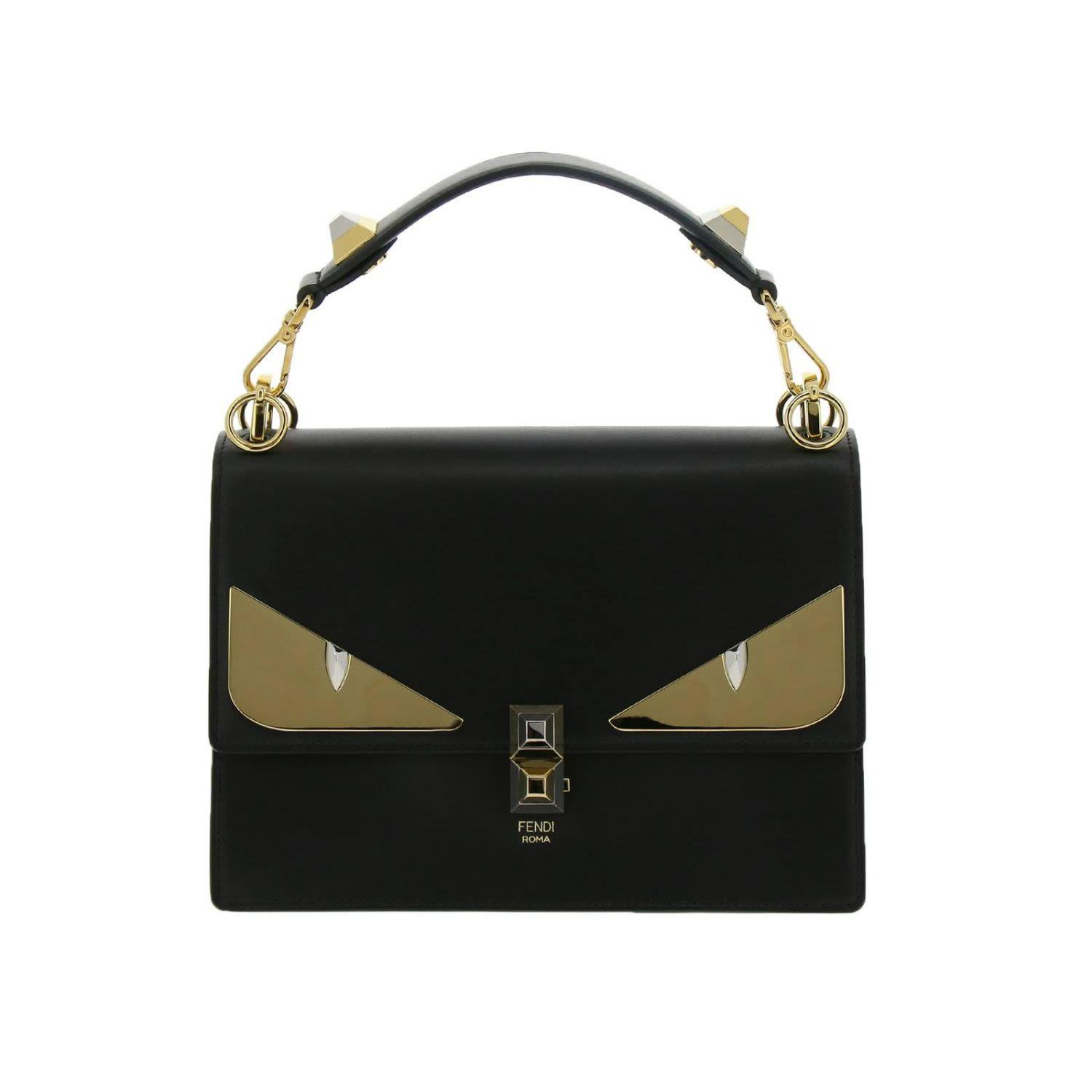 8329438e Monster Eyes Kan I Bag In Genuine Leather With Maxi Metal Eyes Bag Bugs in  Black
