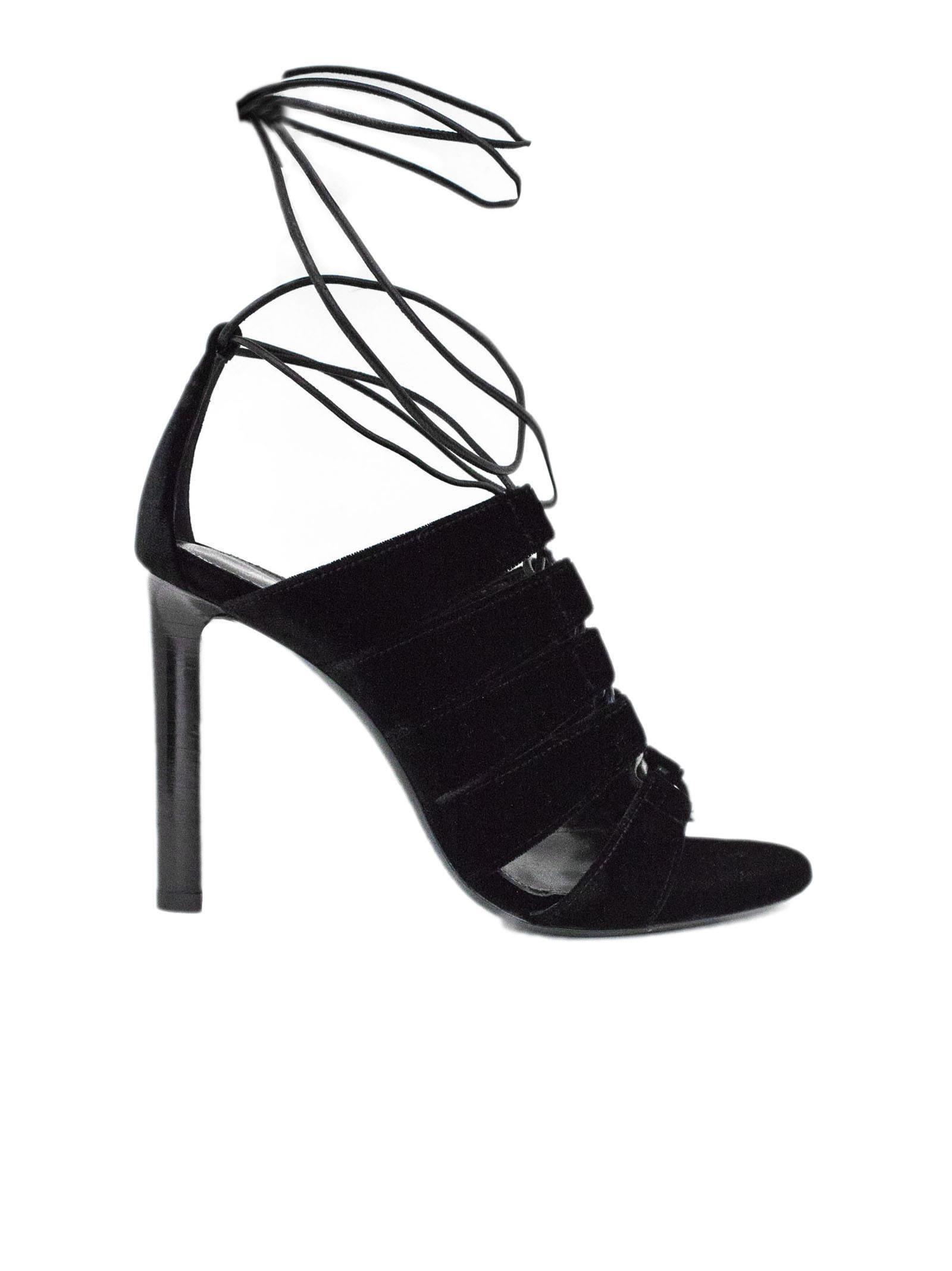 15e81bedda9 Saint Laurent Kate 105 Sandal In Black Velvet. In Nero | ModeSens